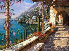 Villa in Capri - 24 x 30 or 30 x 40 Artist Embellished Giclee on Canvas