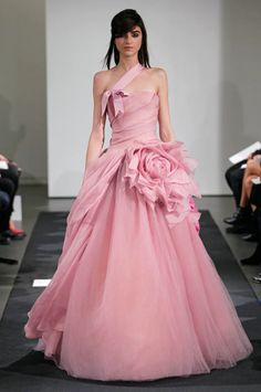 pink color wedding dresses