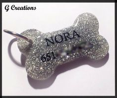 Glitter Bone Dog Tag - Silver - Personalized Custom Handmade Dog Pet ID - Resin - Male Female - Glitter Dog Collar Accessory Cute from G Creations on Wanelo