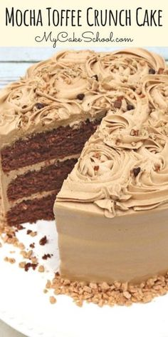 This Mocha Toffee Crunch Cake is the best! Ultra most and with the perfect balance of chocolate, espresso, and toffee! You will love the mocha buttercream! (From My Cake School's cake recipe section) recipes Mocha Toffee Crunch Cake Just Desserts, Delicious Desserts, Dessert Recipes, Cupcake Recipes, Holiday Desserts, Donut Recipes, Fall Cake Recipes, Layer Cake Recipes, Healthier Desserts