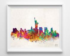 New York Skyline Watercolor, NYC Print, City Painting, Big Apple Poster, Illustration Art Paint, Wall, Cityscape, Fine, Home Decor [NO 216]