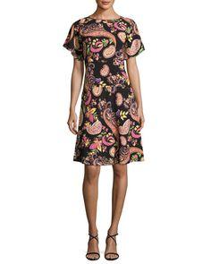 ETRO Paisley-Print Short-Sleeve Dress, Black, Black Pattern. #etro #cloth #