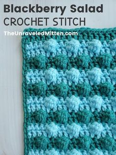 Learn the blackberry salad bobble crochet stitch! This highly textured crochet stitch would make a really fun baby blanket, hat or pillow cover. Bobble Crochet, Bobble Stitch, Baby Blanket Crochet, Hand Crochet, Crochet Hooks, Crochet Baby, Free Crochet, Crochet Afghans, Crochet Square Patterns