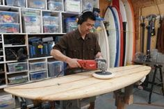Picture of Polishing and Finished Board Wooden Surfboard, Wood Glue, Masking Tape, Surfboards, Shapes, Snowboarding Girl, Skateboard Girl, Burton Snowboards, Kitesurfing