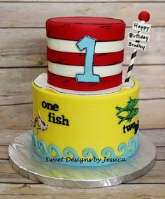 Dr. Seuss themed 1st birthday cake