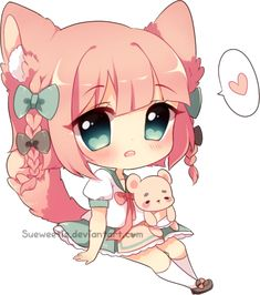 Super berry berio chibi // I absolutely loved the design! Kawaii Neko Girl, Chibi Kawaii, Kawaii Doodles, Chibi Girl, Cute Anime Chibi, Cute Anime Pics, Kawaii Art, Kawaii Anime, Kawaii Drawings