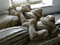 Edgcote, Northamptonshire  Sir Toby Chauncy, d1607, and 2 wives : detail