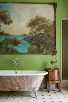 The most beautiful hotels in France? - [i]In this bathroom, a large painting hangs against green walls, which highlight the green details - Hotels In France, Green Paintings, Green Rooms, Green Walls, Ivy House, Georgian Homes, London House, Wet Rooms, Beautiful Hotels