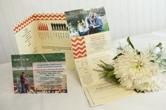 Custom folding wedding invitation - orange, chevrons