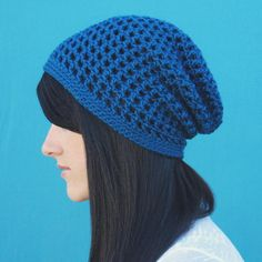The Slouchy Ocean Blue Hat has just the right amount of slouch to give this beanie a relaxed feel. This crochet hat pattern uses simple crochet stitches to create a lovely grid-like mesh, and the blue tones have a such a warm, fresh vibe.