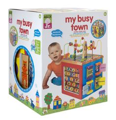 New My Busy Town Wooden Activity Cube Toy Baby Toddler Free Shipping