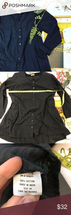 Tulip black striped asymmetrical button top M Tulip black striped asymmetrical minimalist button down blouse size medium  In good used condition  Super soft and a very minimalist style  Huge deep pockets on the side  And a corset look in the back  Super cute with leggings and loafers perfect for spring  Very light weight ✨  Any ? Please ask  I would love to accept your offer tulip Tops Button Down Shirts