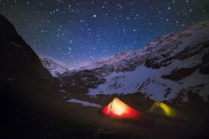 Camping with tents under the stars! Magical night in the wilderness of the Alps. Photography by Laanscapes / Daniel Laan.