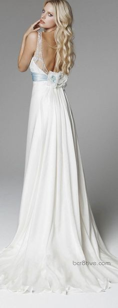 Blumarine 2013 Bridal Collection / Wedding dress with a baby blue sash
