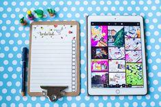 iPad, clipboard, dots, blue, mug, cup, coffee, cactus, to-do list, photo: Zenja blog