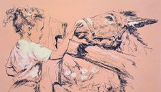 American Art: Bruce Howson, Joan & the Horse - 1950s Original Drawing