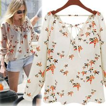 2015 nova Lady verão de corda de manga comprida blusa de Chiffon Floral de…