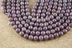 Leipidolite Beads - Round Smooth Purple Stone Beads, 16 inch strand