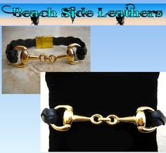 Thick Braided Black Leather Bracelet with Gold Equestrian Snaffle Bit and Gold Plated Magnetic Clasp    by BeachSideLeathers, $18.99