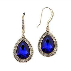 Royal Teardrop Earrings with Gold Pave Accents