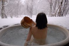 "Hot-spring which called ""Onsen"" on the snow field in Japan."