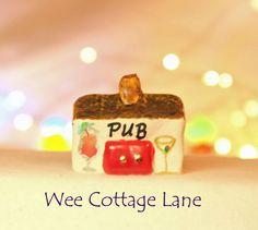Village Pub, Public House, Mini Bar, Wee Cottage Lane, Tiny House, Ceramic House, Mini Cottage, Miniature Bar, Tiny Home, Miniature Home