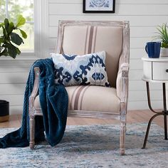 McKenna Tan Stripe Accent Chair from Kirkland's