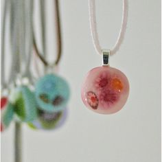 Small Fused Glass Pendant Necklace Pink Red Apricot Millefiori