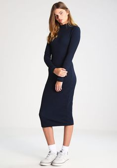 G-Star STARIA SLIM LONG TURTLE DRESS L/S - Strikket kjole - mazarine blue - Zalando.no
