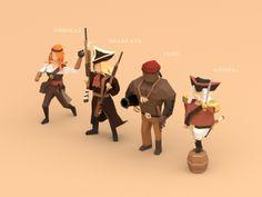 Low poly pirates! by Alex Pushilin, via Behance