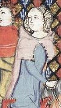 """1350, depiction of woman wearing hood with buttons, from """"The Romance of Alexander""""."""