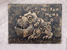 """Животные ручной работы. Ярмарка Мастеров - ручная работа. Купить Панно стимпанк """"Не зли меня"""". Handmade. ключница в прихожую"""