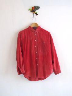 Vintage red baby cord shirt. Nantucket red by SwanDiveVintage, $40.00