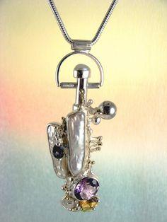 Gregorio Pyra Piro Plata de Ley y Oro Perfume Botella #Colgante 8382