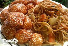 Kínai omlós szezámmagos csirke, zöldséges pirított tésztával | Nosalty Chicken Lo Mein, Cooking Recipes, Healthy Recipes, Kfc, Winter Food, Cravings, Delish, Bacon, Food Porn