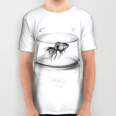 #alloverprint #tshirt #clothing #goldfish #drawing