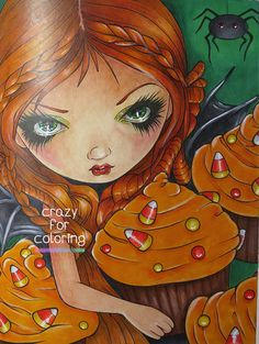 Page from Jasmine Becket-Griffith's Halloween coloring book. #jasminebecketgriffith #adultcoloringbooks #crazyforcoloring