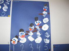 1 t/m 5 voor groep 1 sneeuwpoppen stempelen (juf Gertrude)