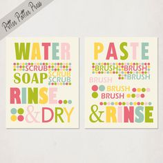 Kids Bathroom Art Prints, Wash Your Hands, Brush Your Teeth, Set of Two, pick custom colors, size 8X10. $38.00, via Etsy.