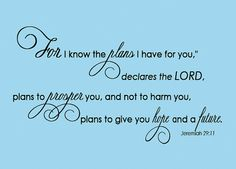 Jeremiah 29:11  Scripture Wall Decal For I Know The Plans I have for You  ... EXTRA Large