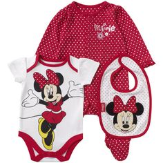Mothercare 3 Piece Girls Minnie Mouse Set ($13) ❤ liked on Polyvore featuring baby, kids, baby girl, kids clothes and baby stuff