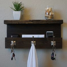 Modern Rustic Entryway Organizer Shelf with Satin by KeoDecor