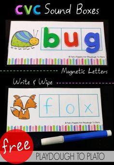 Free CVC Sound Boxes! What a fun way to practice sounding out CVC words. I love that you can use them with dry erase markers or alphabet magnets. Great literacy center for kindergarten or first grade.                                                                                                                                                                                 More