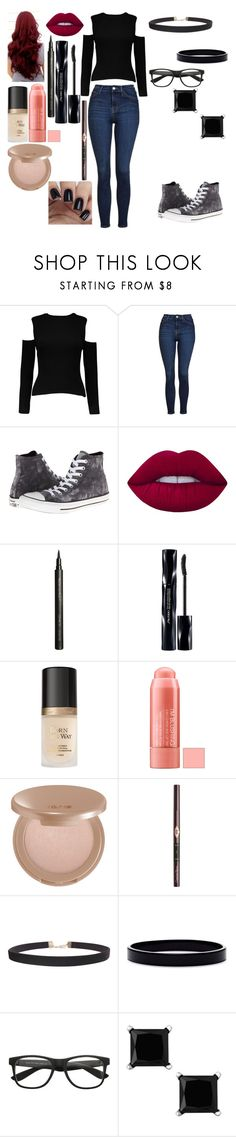 """Alyssa #37"" by kei-lily-amethyst on Polyvore featuring Topshop, Converse, Lime Crime, Giorgio Armani, Shiseido, Too Faced Cosmetics, tarte, Charlotte Tilbury, Humble Chic and L. Erickson"
