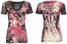 Womens T Shirt Hydrate Skulls Tattoo Biker Affliction Clothing, Fashion Outfits, Womens Fashion, Fashion Ideas, Western Outfits, T Shirts For Women, Clothes For Women, Dress Me Up