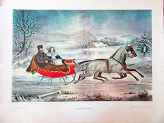 I have always loved this print. Currier and Ives Lithograph Print The Road-Winter 22 x 28