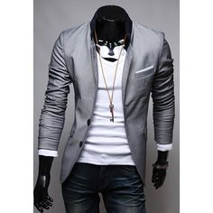 Stylish Slimming Stand Collar Color Block Splicing Long Sleeves Polyester Blazer For Men