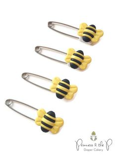 Bumble Bee Diaper Pins  Bee Baby Shower by PrincessAndThePbaby, $4.99