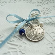 Something Old, New, Borrowed Blue Sixpence Bouquet or Handfast Charm