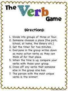 Adventures in Room Verbs! For centers. Different parts of speech // a timer // and different scenarios verb game Grammar Games, Grammar And Punctuation, Grammar Activities, Teaching Grammar, Teaching Language Arts, Classroom Language, Teaching Writing, Writing Activities, Speech And Language
